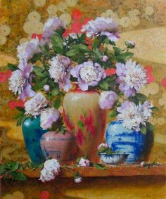 Robert Johnson, Peonies with Asian Print, 30x24,OPA, Eastern Regional ,  Corse Gallery, Jacksonville, FL. An amazing teacher, and master painter.