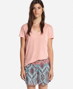 T-shirt linho coral - OYSHO