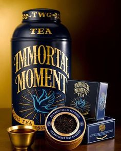 T6027 Immortal Moment Tea : A divine TWG Tea creation of Ceylon black tea blended with legendary notes of vanilla. With a sprinkling of leaves of pure yellow gold, this elixir is the inspiration of the gods.  #TWGTeaOfficial #CaviarTinTeaCollection