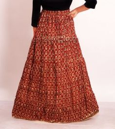 Indian long skirt. Maxi crushed cotton red mirror work by Artikrti ...