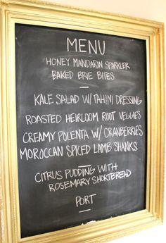dinner party menu: kale salad, polenta, lamb, citrus pudding
