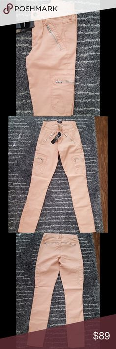 NWT Bebe coated skinny cargo jeans Trendy coated cargo jeans from Bebe. True color is darker than photos and is more of a pinkish-beige/blush color. Slick feel to jeans, some stretch. Size 25 but could fit 24. Shiny silver zippers in front and back pockets. Zippers open but no actual pockets. 97% cotton 3% spandex. Inseam 27 inches. No trades. bebe Jeans Skinny