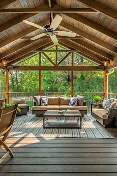 This stunning porch features solid-sawn Douglas Fir lumber.