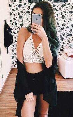 94d092d2b42f  summer  fashion   lace crop top Cute Teen Outfits