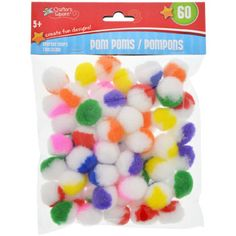 "Colorful marbled polyester pom-poms are the perfect addition to your craft supplies! Each 60-ct. package comes packed with a colorful array of fuzzy 1"" bi-colored pom-poms. Perfect for parties, s"