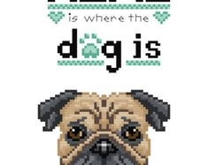 Where the Dog Is - Tan, Black Pug Cross Stitch Pattern - Instant PDF Download 2-pack