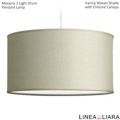 ✐Color: Beige/ Tan/ Cream ✦ Messina 1-Light Drum Pendant Lamp- Vanilla Woven Shade with Chrome Canopy by Linea di Liara ✦ Uses 1 Medium Base (E26) Bulb - 100W Max (Not Included) ✦ http://lineadiliara.com/collections/pendant/products/messina-pendant #Lighting