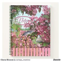 Cherry Blossom Notebook Inside Design, Notebook Covers, Letterhead, Dog Design, Nursery Wall Art, School Supplies, Cherry Blossom, Meditation, Garden Layouts