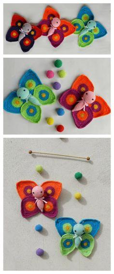 The Crochet Amigurumi Butterfly are super beautiful! Crochet Butterflies make a cute gift for newborns. Crochet Gifts, Cute Crochet, Crochet Dolls, Crochet Baby, Knit Crochet, Butterfly Cocoon, Crochet Butterfly, Butterfly Pattern, Knitting Patterns
