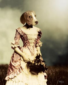 "Dog Art Print, Beagle, French Country, Anthropomorphic Collage, Novelty Gift, Gift for Her, Gift for Dog Lover, ""Shy French Maiden"""