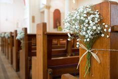 wedding flowers, pew flowers, church bench decoration, gypsophilia                                                                                                                                                                                 More