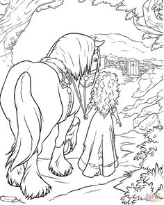 Brave Merida is Climbing The Rock cartoons coloring pages for kids Family Coloring Pages, Horse Coloring Pages, Cool Coloring Pages, Cartoon Coloring Pages, Adult Coloring Pages, Coloring Pages For Kids, Coloring Books, Disney Coloring Pages Printables, Disney Princess Coloring Pages