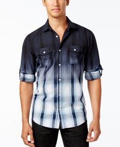 Inc International Concepts Men's Dip-Dyed Cloudy Plaid Shirt, Only at Macy's