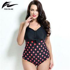 ea4f017975129 Summer style Womens Plus Size One Piece Swimsuit Swimwear Padded Monokini  women Bathing Suits Large Bust Swimsuits