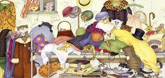 Many cats paintings. Linda Jane Smith - Jumble Sale.