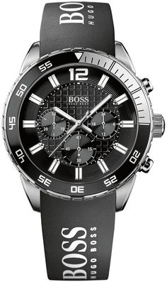 Hugo Boss Watch, Men's Chronograph Black Silicone Strap 44mm 1512868