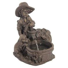 Sunnydaze Boy with Dog Solar On Demand Fountain with LED Light- Free Shipping