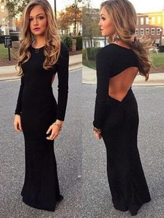 sexy backless Long-sleeved dress L180846