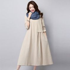 High Quality Cotton Linen Casual Dress New Autumn And Winter Fashion Round  Neck Women Fold Long 0b065e2e447
