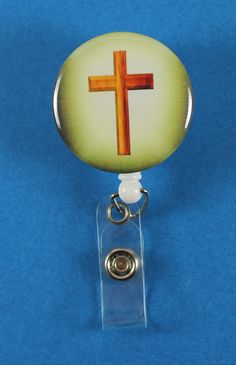 Wooden Cross Button Retractable Badge Reel, ID Badge Holder
