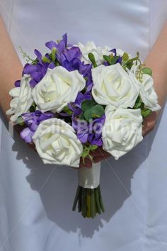 Beautiful Artificial Ivory Rose and Purple Freesia Wedding Bridesmaid Bouquet #artificialflowers #wedding #weddingflowers #bouquet #flowers #bridal #silkflowers #freesia #roses #clover #purplebridalbouquet