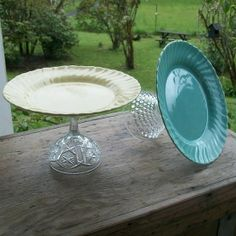 This is a great idea~ make a cake stand  with dollar store plates and glasses too...to hold cupcakes at the wedding?
