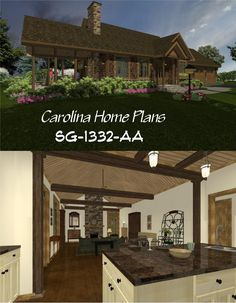 Large kitchen island open to cathedral ceiling great room with fireplace. 3d House Plans, Craftsman Cottage, Large Kitchen Island, Open Floor, Great Rooms, 3 D, Cathedral, Pergola, Floor Plans