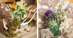 Amazing floral + antler table arrangements from Lauren + Jay's Colorado outdoor wedding. Moss Centerpieces, Wedding Flowers, Wedding Day, Sweet Pea Flowers, Wedding Table Decorations, Table Arrangements, Flower Delivery, Wedding Portraits, Wedding Details