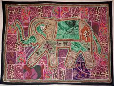 HANDMADE ELEPHANT BOHEMIAN PATCHWORK WALL HANGING EMBROIDERED TAPESTRY INDIA X05…