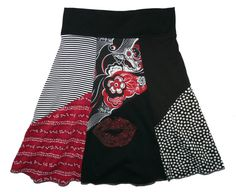 LIPS Boho Chic Hippie Skirt Women's Small Medium upcycled t-shirt clothing from Twinkle