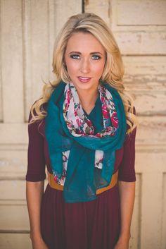 Dottie Couture Boutique - Emerald Floral Scarf, $16.00 (http://www.dottiecouture.com/emerald-floral-scarf/)