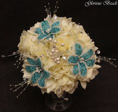 Teal / Turquoise Beaded Bridal Wedding Bouquet  by Glorious Beads