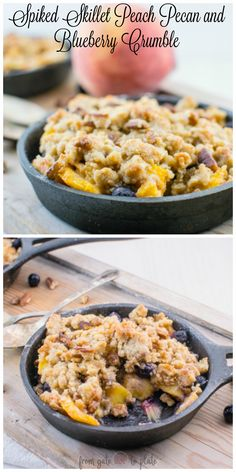 Spiked Skillet Peach Pecan and Blueberry Crumble #SundaySupper