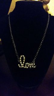 """love (with bling) on a 16"""" Black chain Necklace Handmade by U.BE.U. FASHION"""