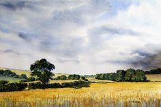 """Gold on the Wolds"" - original watercolour by Glenn Marshall. The ripening barley gives a golden glow to this classic view of the Yorkshire Wolds. Original Artwork, Original Paintings, Fields Of Gold, Affordable Art, Limited Edition Prints, Sculptures, Watercolor, Art Prints, Wall Art"