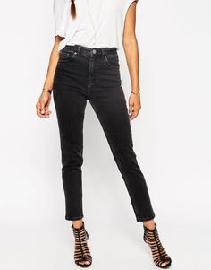 ASOS fairleigh high waist slim mom jeans in washed black (are sized according to length and waist)