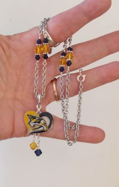 Nashville Predators Necklace, Predators Jewelry, Navy and Gold Crystal Necklace, Pro Hockey Preds Bling Accessory Fanwear by scbeachbling on Etsy