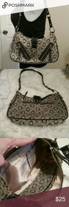 Super cute Guess bag EUC. Spotless inside. Black and grey/taupe Guess Bags Shoulder Bags