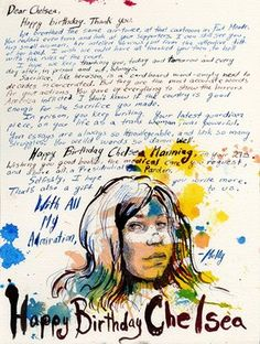 Molly Crabapple has used her art to draw attention to the plight of whistleblowers. This is a portrait she made of Chelsea Manning for her birthday. Organizers for cyber security asked big names to contribute art and thoughts to mark Chelsea's birthday but also to keep conversations of security in the public discourse.