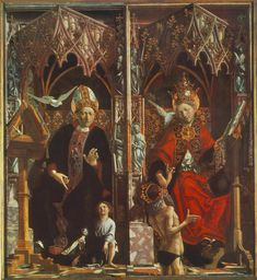 """$474, 30""""x40"""", Altarpiece of the Church Fathers St Augustine and St Grego"""
