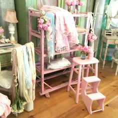 I love this sweet chippy vintage painted pale pink step stool. Perfect Chippy furniture decor. painted from years of worn and use!  Sturdy and strong! I would love to keep this one!! Very very beautiful and magical.Perfect for your shabby chic cottage or shabby chic aff link for etsy