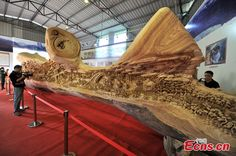 12.286-meter-long wooden sculpture enters Guinness World Records (8/8) - Headlines, features, photo and videos from ecns.cn