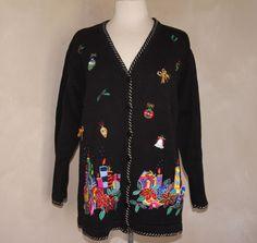 QUACKER FACTORY Christmas Sweater Cardigan L Black Button Up LS V-Neck Applique #QUACKERFACTORY #Cardigan