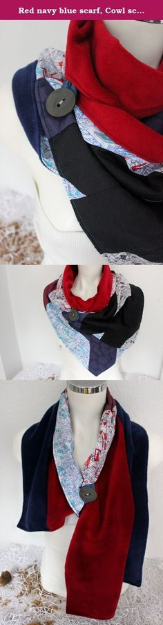 Red navy blue scarf, Cowl scarf, Red Hot collar, Neck scarves, Buttons scarves, Infinity scarves, Patchwork scarf, Unique scarf, Navy scarf. I've done with this beautiful and eye-catching scarf patchwork sewing technique. So I used a variety of fabrics. All the fabrics I did prefer thin and soft cotton fabrics. I'm all washed and ironed fabric. I prepared stitches. Scarves I made with high quality fleece fabric on the other side. You can use double-sided. You can secure the switch by…
