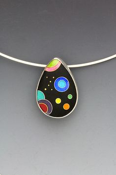 Small Black Galaxy Enameled Teardrop Cloisonne Pendant Necklace by Anna Tai | avail - Artful Home <3<3<3I JUST LOVE EVERYTHING ABOUT ANNA'S JEWELLERY! THE BEAUTIFUL & OFTEN VIBRANT COLOURS/WHIMSICAL DESIGNS MIXED W' GEMS & PRECIOUS METALS (I'D <3 TO OWN A PIECE...sigh), SIMPLY STUNNING!<3<3<3