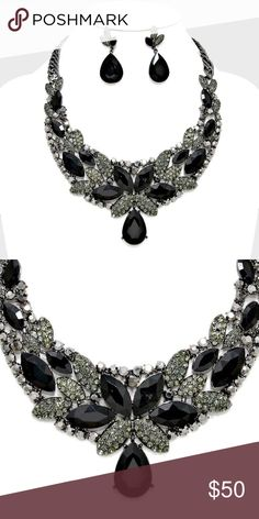 "Evening Collar Necklace Set • Price firm unless bundled w/ another item.  • Necklace Size : 17"" + 2"" L • Decor Size : 2 1/2"" L • Earrings Size : 1 3/4"" L • Floral Crystal Rhinestone Collar Evening Necklace Jewelry Necklaces"