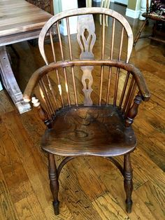 Antique Circa 18th Century Yew Wood Windsor Chair Crinoline Stretcher OHIO FARM #English #Unknown