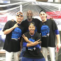 Roberto Osuna, LaTroy Hawkins, Aaron Sanchez and Marcus Stroman celebrate the Jays winning game 5 of the ALDS Blue Jay Way, Go Blue, Marcus Stroman, Young Guns, Toronto Blue Jays, Baseball, Guys, Celebrities, Sports