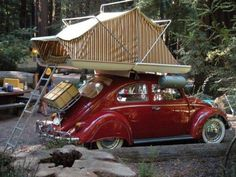 doyoulikevintage:  Vintage VW Bug Rooftop Camping Set Up