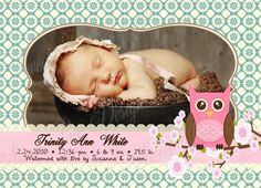 Owl Birth Announcement by Sweet Bee Design Shoppe